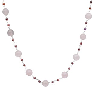 Orchid Jewelry 925 Sterling Silver 67 Carat Rose Quartz and Garnet Beads Necklace