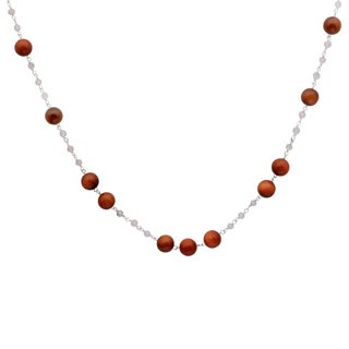 Orchid Jewelry 925 Sterling Silver 60 1/5 Carat Sun Stone and Crystal Quartz Beads Necklace