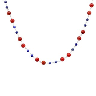 Orchid Jewelry 925 Sterling Silver 52 1/7 Carat Red Jasper and Lapis Beads Necklace