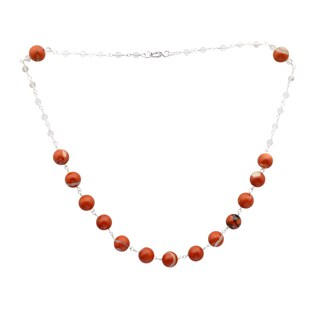 Orchid Jewelry 925 Sterling Silver 62 5/9 Carat Red Jasper and Crystal Quartz Beads Necklace