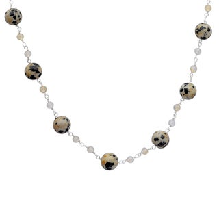 Orchid Jewelry 925 Sterling Silver 54 4/5 Carat Dalmatian Jasper and Crystal Quartz Beads Necklace