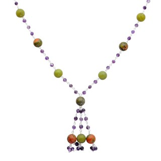 Orchid Jewelry 925 Sterling Silver 80 Carat Unakite Jasper, Lemon Agate and Amethyst Gemstone Necklace