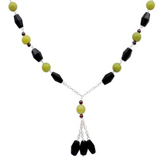 Orchid Jewelry 925 Sterling Silver 81 2/7 Carat Black Onyx, Agate and Garnet Gemstone Necklace