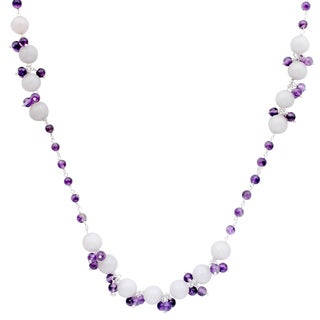 Orchid Jewelry 925 Sterling Silver 96 Carat White Agate and Amethyst Gemstone Necklace