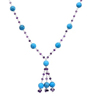 Orchid Jewelry 925 Sterling Silver 65 Carat Turquoise and Amethyst Necklace