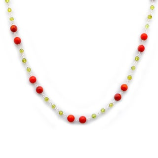 Orchid Jewelry 925 Sterling Silver 46 1/2 Carat Red Jasper and Peridot Necklace