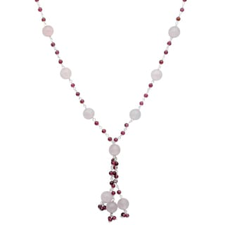 Orchid Jewelry 925 Sterling Silver 79 Carat Rose Quartz and Garnet Necklace