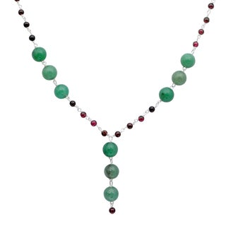 Orchid Jewelry 925 Sterling Silver 62 4/5 Carat Green Aventurine and Garnet Necklace