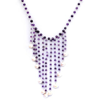 Orchid Jewelry 925 Sterling Silver 108 Carat Amethyst and Pearl Necklace