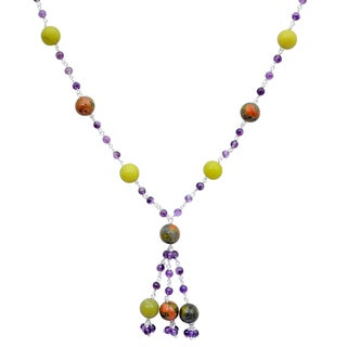 Orchid Jewelry 925 Sterling Silver 73 Carat Lemon Agate, Unakite Jasper and Amethyst Necklace