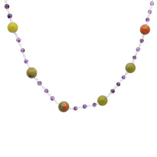Orchid Jewelry 925 Sterling Silver 50 Carat Lemon Agate, Unakite Jasper and Amethyst Necklace