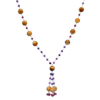 Orchid Jewelry 925 Sterling Silver 84 Carat Picture Jasper, Amethyst and Garnet Necklace