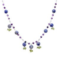 Orchid Jewelry 925 Sterling Silver 77 Carat Multi Gemstone Necklace