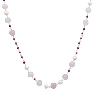 Orchid Jewelry 925 Sterling Silver 65 Carat Rose Quartz, Pearl and Garnet Necklace