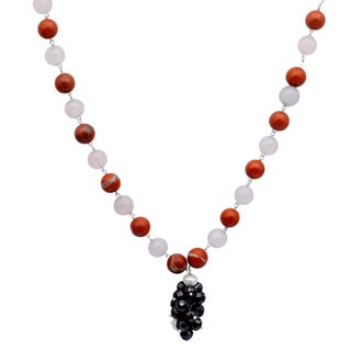 Orchid Jewelry 925 Sterling Silver 170 Carat Multi Gemstone and Pearl Necklace