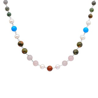 Orchid Jewelry 925 Sterling Silver 74 4/5 Carat Multi Gemstone Necklace