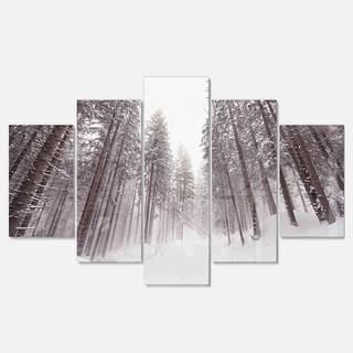 Designart 'Winter Scenery in Trentino Alto Adige' Large Forest Glossy Metal Wall Art