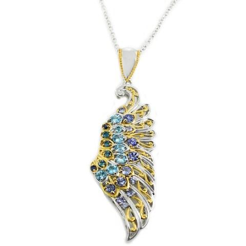 Michael Valitutti Palladium Silver Blue Topaz, Blue Sapphire and Tanzanite Wing Pendant