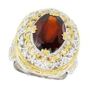 Michael Valitutti Palladium Silver Oval Hessonite and White Sapphire Ring