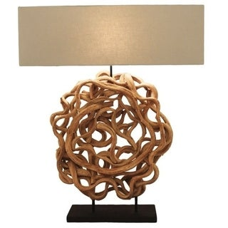 Beauty Bleached Wood Rectangular Table Lamp