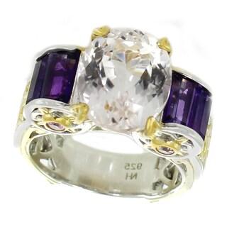 Michael Valitutti Palladium Silver Kunzite, Amethyst and Pink Sapphire Ring