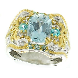 Michael Valitutti Palladium Silver Cushion Aquamarine, Blue Zircon and White Sapphire Ring