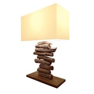 Picturesk Linera Beige/Brown Wood Rectangular Lamp