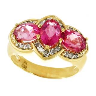 Michael Valitutti Palladium Silver Rubellite Three Stone and Diamond Ring