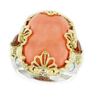 Michael Valitutti Palladium Silver Salmon Bamboo Coral, Fire Citrine and White Sapphire Ring