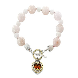 Michael Valitutti Palladium Silver Morganite Bead and Madeira Citrine Toggle Bracelet