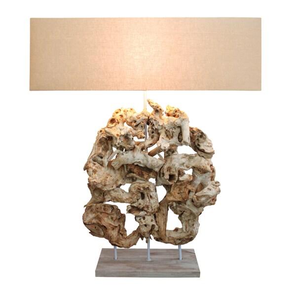 Highlands Sculpture Tan Wood Table Lamp
