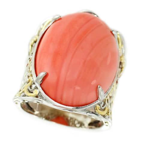 Michael Valitutti Palladium Silver Salmon Bamboo Coral and Orange Sapphire Ring