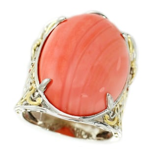 Michael Valitutti Palladium Silver Salmon Bamboo Coral and Orange Sapphire Ring