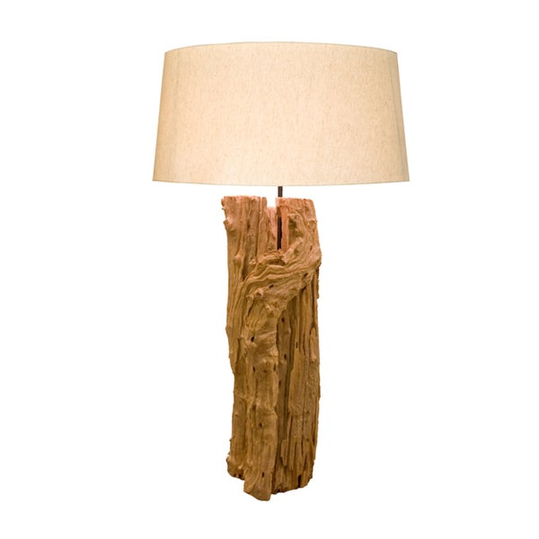 Aspen Wood Round Table Lamp
