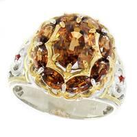 Michael Valitutti Palladium Silver Brown Zircon and Orange Sapphire Ring