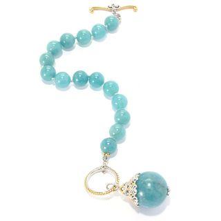 Michael Valitutti Palladium Silver Bead Toggle Bracelet w/ 20mm Drop Charm