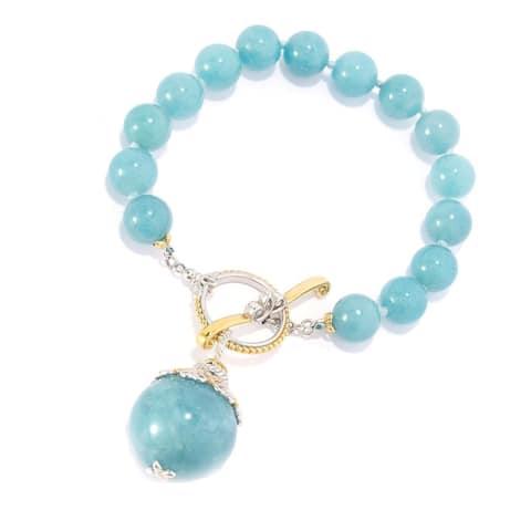 Gems en Vogue Palladium Silver Bead Toggle Bracelet w/ 20mm Drop Charm