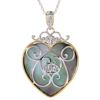 """Michael Valitutti Palladium Silver Heart Shaped Mother-of-Pearl Padlock Pendant w/ 18"""" Rolo Chain and 2"""" Ext"""