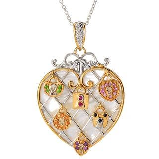 """Michael Valitutti Palladium Silver Heart Shaped Mother-of-Pearl Padlock Pendant w/ 18"""" Rolo Chain and 2"""" Ext