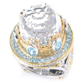 Michael Valitutti Palladium Silver Rock Crystal Quartz & Swiss Blue Topaz Opera House Ring