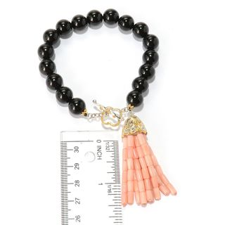 Michael Valitutti Palladium Silver Gemstone Bead & Coral Tassel Toggle Bracelet