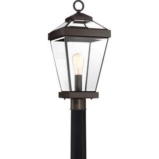 Quoize Ravine Western Bronze FInish GU24 Base CFL Large Post Lantern