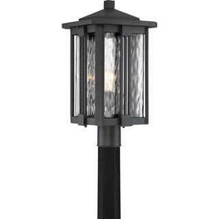 Quoize Everglade Earth Black Finish Glass Large Post Lantern