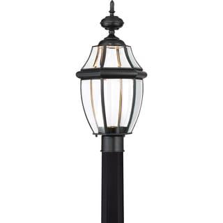 Quoize Newbury Mystic Black Finish Clear LED Large Post Lantern