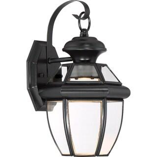 Quoizel Newbury Mystic Black Finish Brass Clear LED Small Wall Lantern