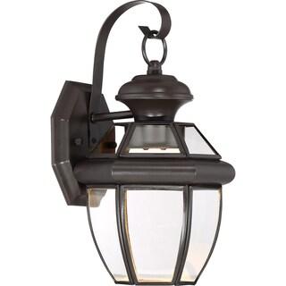 Quoize Newbury Medici Bronze Finish Brass Clear LED Small Wall Lantern