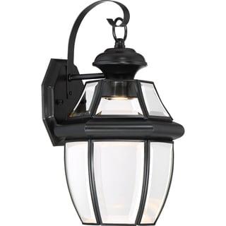 Quoizel Newbury Mystic Black Finish Brass Clear LED Medium Wall Lantern