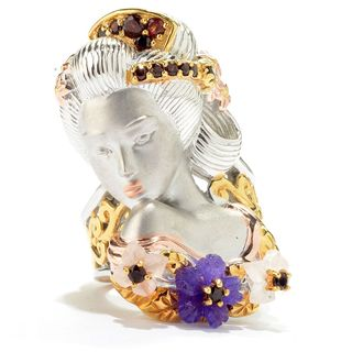 Michael Valitutti Palladium Silver Amethyst, Garnet & Rose Quartz Sculpted Geisha Ring