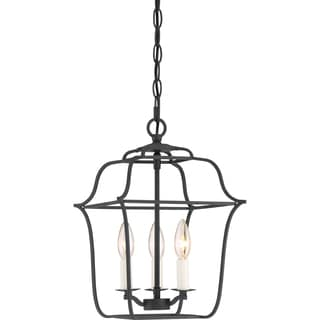 Gallery Cage Chandelier With 3 Lights in Royal Ebony Finish