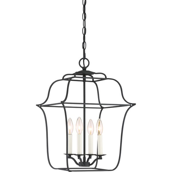 Quoize Gallery Black Steel 4 Light Cage Chandelier